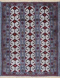 Geometric Blue Balouch Persian Hand-Knotted 3x4 Wool Rug