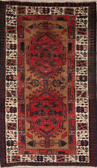 Geometric Red Meshkin Persian Hand-Knotted 3x5 Wool Rug