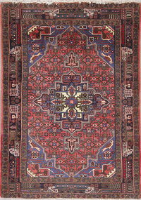 Geometric Red Zanjan Persian Hand-Knotted 4x5 Wool Area Rug