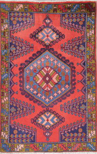 Geometric Coral Red Viss Persian Hand-Knotted 3x5 Wool Rug