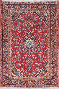 Traditional Floral Kashan Persian Hand-Knotted 3x5 Wool Rug