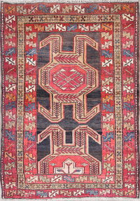 Geometric Meshkin Persian Hand-Knotted 4x5 Wool Area Rug