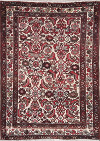 Geometric Malayer Persian Hand-Knotted 4x5 Wool Area Rug