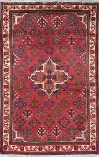 Geometric Red Meymeh Persian Hand-Knotted 4x5 Wool Area Rug