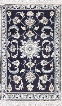 Geometric Navy Blue Nain Persian Hand-Knotted 3x4 Wool Rug
