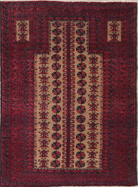 Geometric Red Balouch Persian Hand-Knotted 3x4 Wool Rug