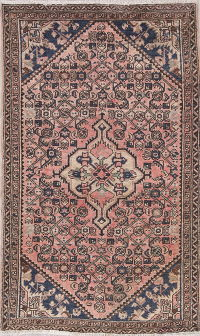 Antique Geometric Hamedan Persian Hand-Knotted 4x6 Wool Area Rug