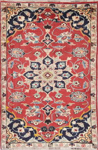 Floral Red Shiraz Persian Hand-Knotted 4x5 Wool Area Rug