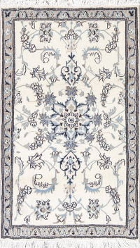 Floral Ivory Nain Persian Hand-Knotted 3x5 Wool Rug
