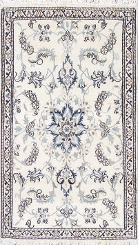 Floral Ivory Nain Persian Hand-Knotted 3x5 Wool Silk Rug