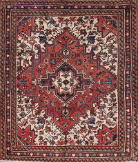 Geometric Heriz Persian Hand-Knotted 4x4 Wool Square Rug