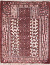 Red Geometric Balouch Persian Hand-Knotted 3x4 Wool Rug