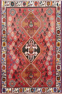 Geometric Red Shiraz Persian Hand-Knotted 3x5 Wool Rug