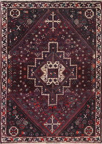 Tribal Shiraz Persian Hand-Knotted 4x5 Wool Area Rug