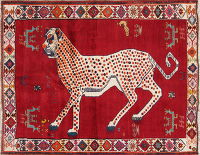 Animal Pictorial Gabbeh Persian Hand-Knotted 4x5 Wool Area Rug