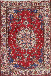 Floral Red Tabriz Persian Hand-Knotted 4x6 Wool Area Rug