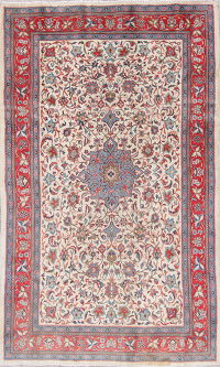 Floral Ivory Sarouk Persian Hand-Knotted 4x7 Wool Area Rug