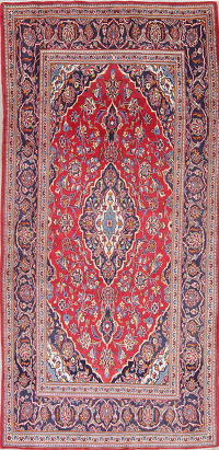 Traditional Floral Kashan Persian Hand-Knotted 4x8 Wool Runner Rug