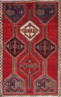 Geometric Red Shiraz Persian Hand-Knotted 4x7 Wool Area Rug