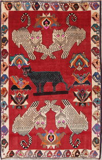 Animal Pictorial Red Shiraz Persian Hand-Knotted 4x7 Wool Area Rug