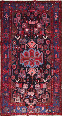 Tribal Geometric Hamedan Persian Hand-Knotted 5x8 Wool Area Rug