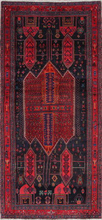 Tribal Geometric Bidjar Persian Hand-Knotted 4x9 Wool Runner Rug