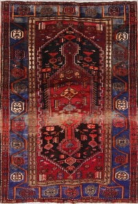 Geometric Hamedan Persian Hand-Knotted 4x6 Wool Area Rug