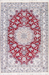 Floral Red Nain Persian Hand-Knotted 5x7 Wool Silk Area Rug