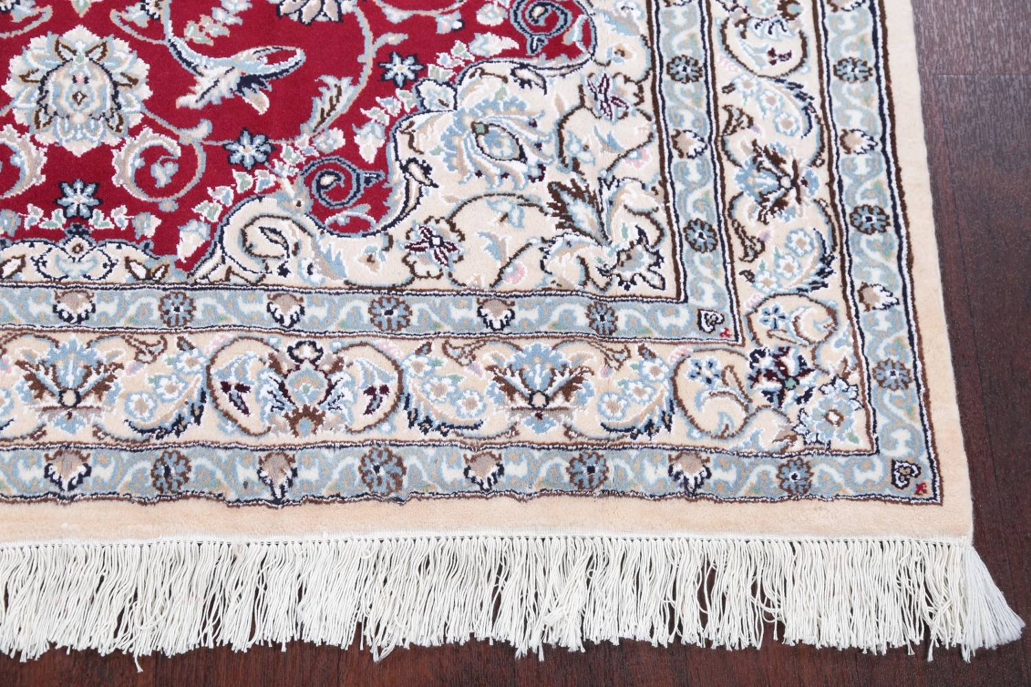 Floral Red Nain Persian Hand-Knotted 5x7 Wool Silk Area Rug image 6
