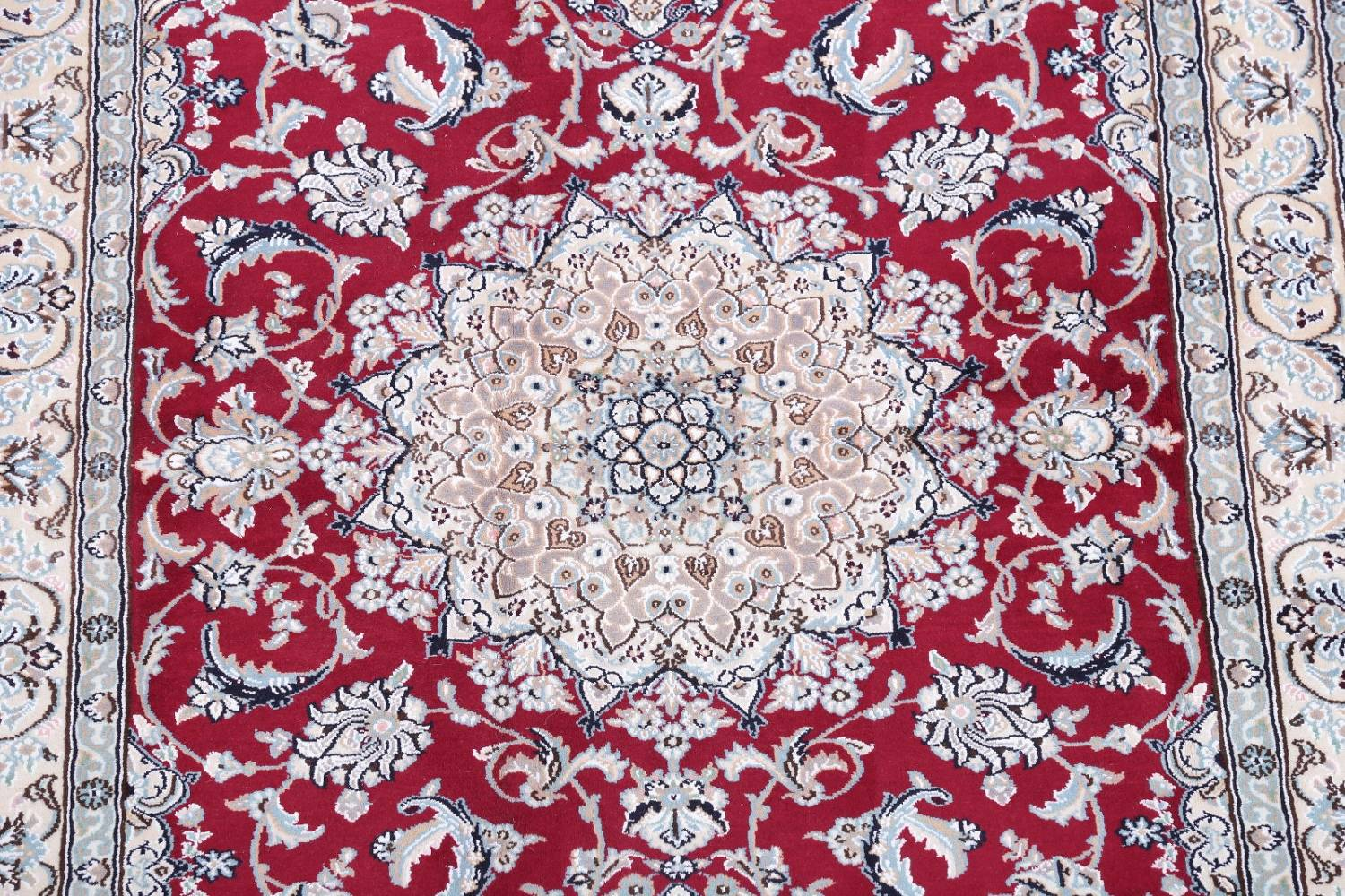 Floral Red Nain Persian Hand-Knotted 5x7 Wool Silk Area Rug image 4