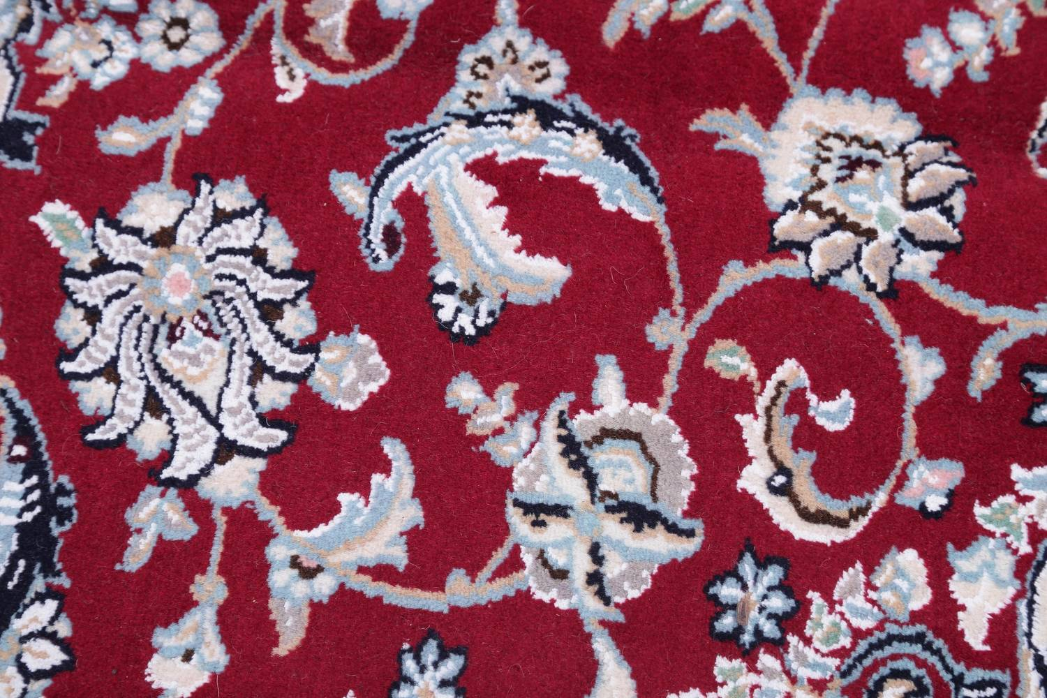 Floral Red Nain Persian Hand-Knotted 5x7 Wool Silk Area Rug image 8