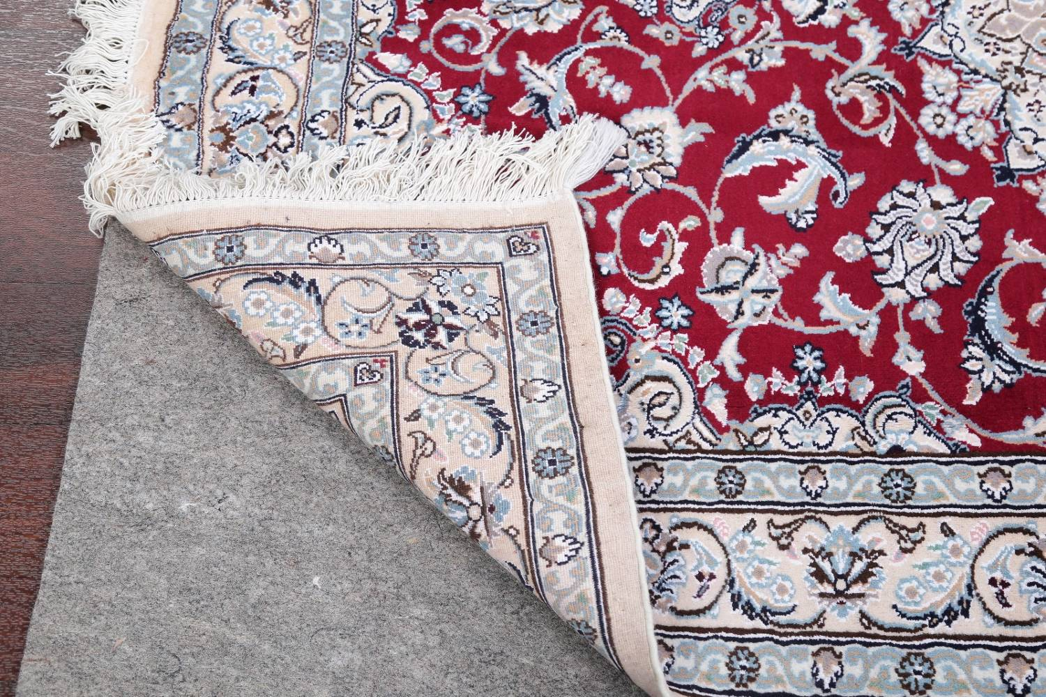 Floral Red Nain Persian Hand-Knotted 5x7 Wool Silk Area Rug image 19