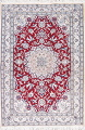 Floral Red Nain Persian Hand-Knotted 5x7 Wool Silk Area Rug image 1
