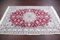 Floral Red Nain Persian Hand-Knotted 5x7 Wool Silk Area Rug image 12