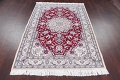 Floral Red Nain Persian Hand-Knotted 5x7 Wool Silk Area Rug image 13