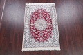 Floral Red Nain Persian Hand-Knotted 5x7 Wool Silk Area Rug image 2