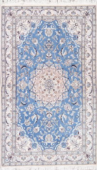 Floral Blue Nain Persian Hand-Knotted 4x7 Wool Silk Area Rug