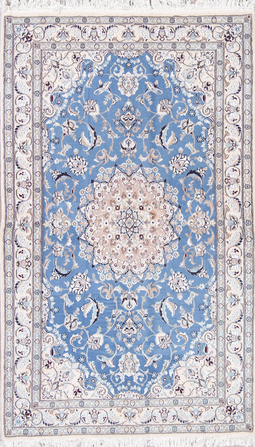 Floral Blue Nain Persian Hand-Knotted 4x7 Wool Silk Area Rug image 1
