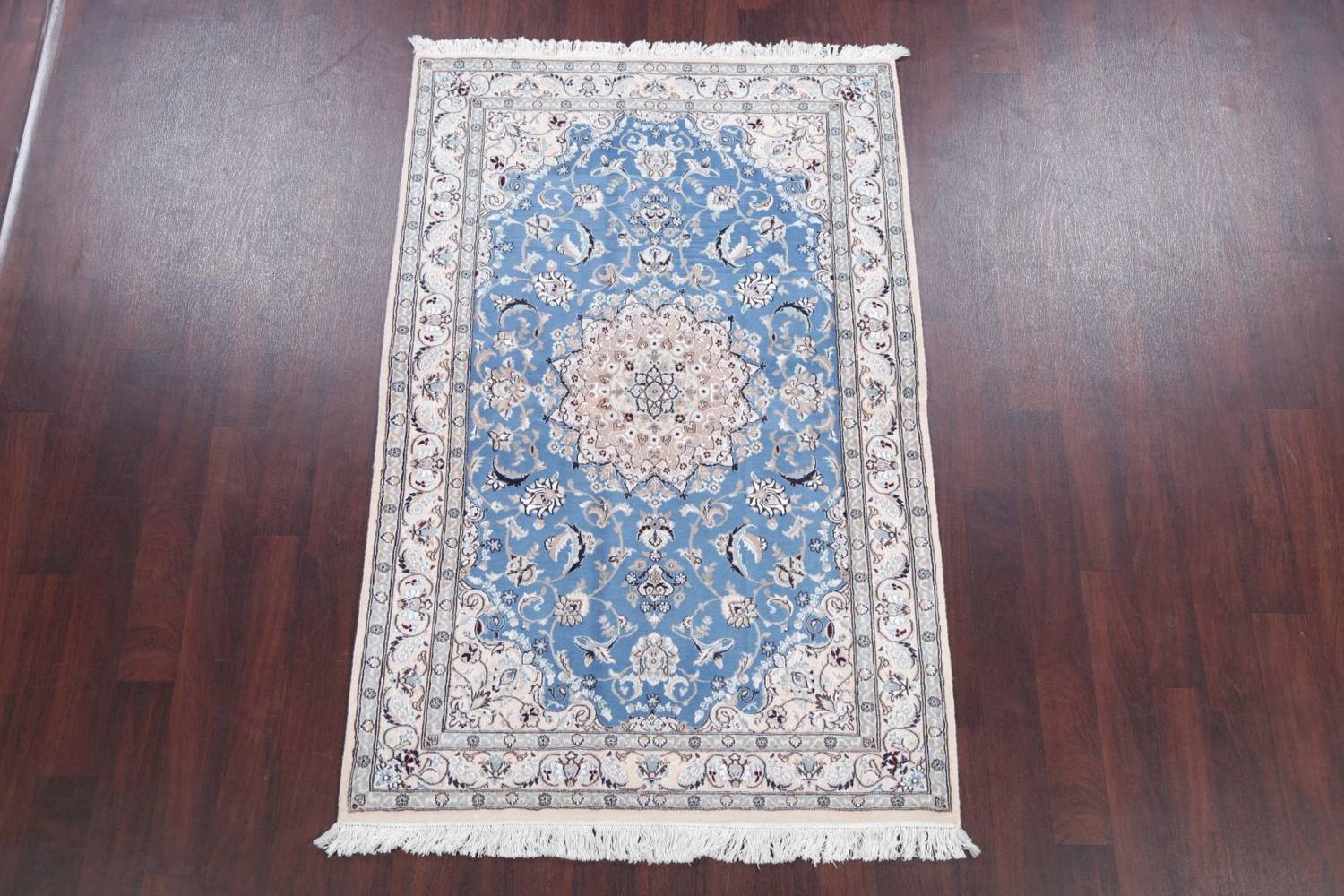 Floral Blue Nain Persian Hand-Knotted 4x7 Wool Silk Area Rug image 2