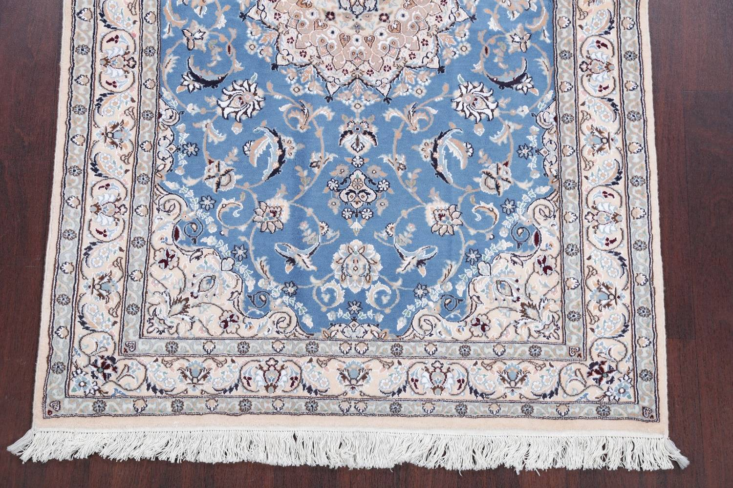 Floral Blue Nain Persian Hand-Knotted 4x7 Wool Silk Area Rug image 5