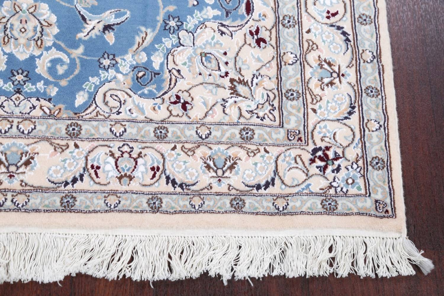 Floral Blue Nain Persian Hand-Knotted 4x7 Wool Silk Area Rug image 6