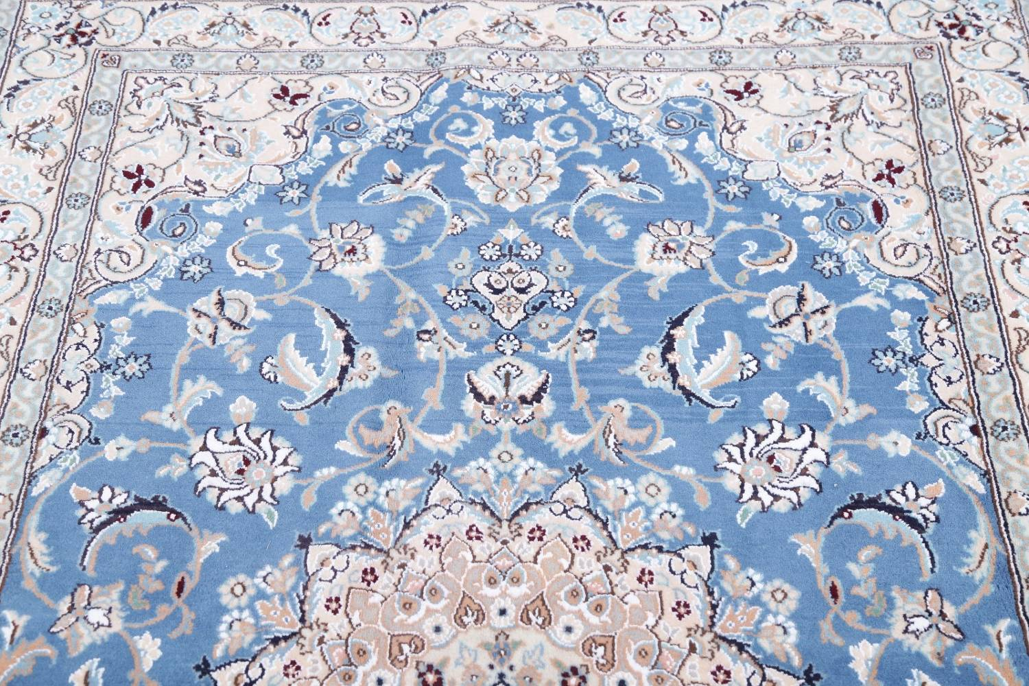 Floral Blue Nain Persian Hand-Knotted 4x7 Wool Silk Area Rug image 11