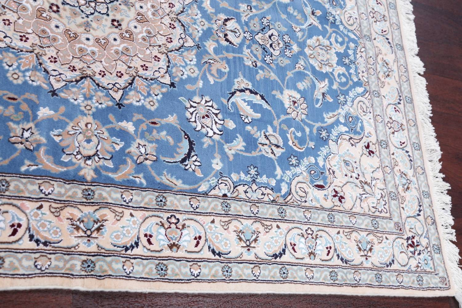 Floral Blue Nain Persian Hand-Knotted 4x7 Wool Silk Area Rug image 12