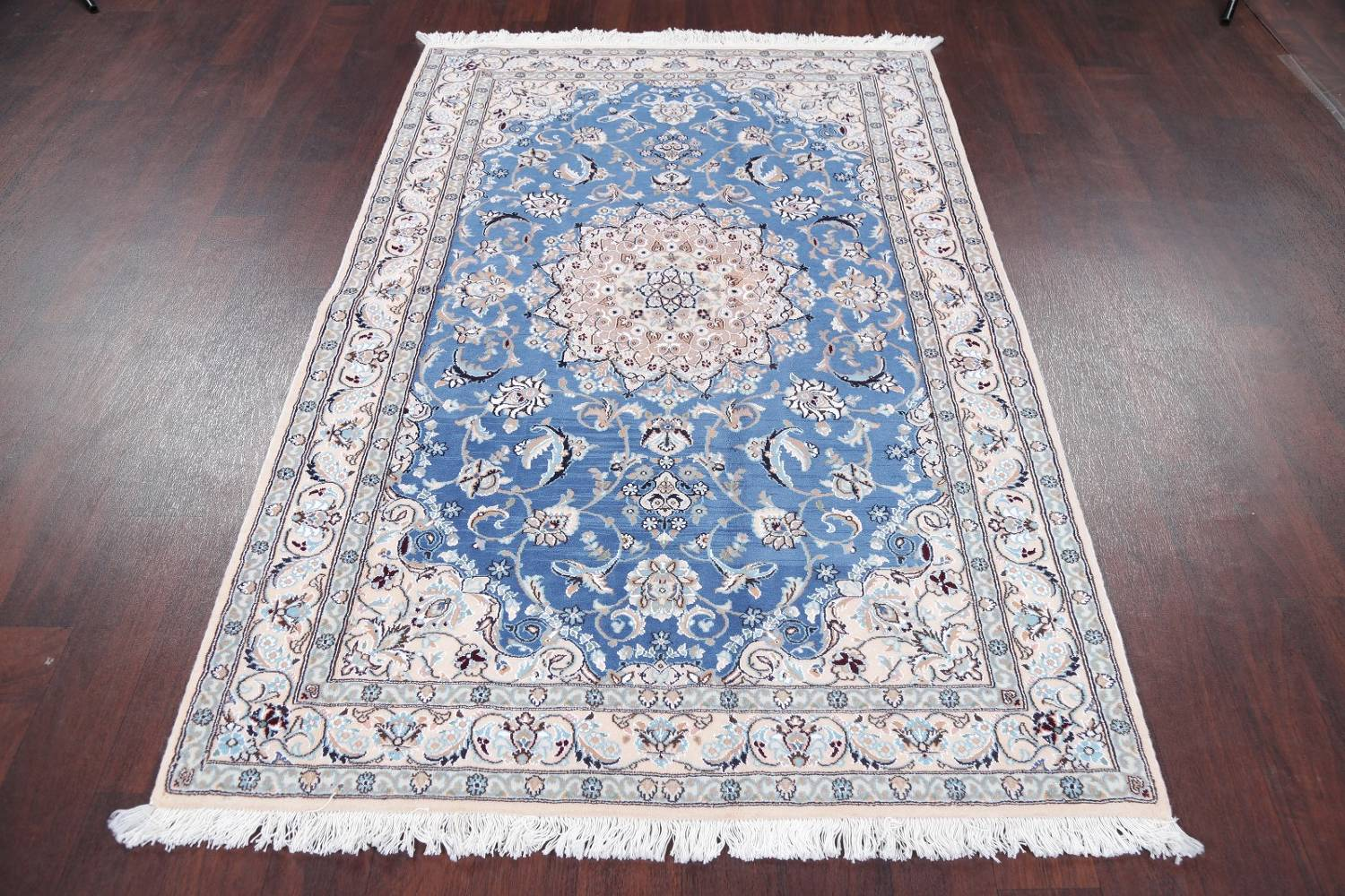 Floral Blue Nain Persian Hand-Knotted 4x7 Wool Silk Area Rug image 14