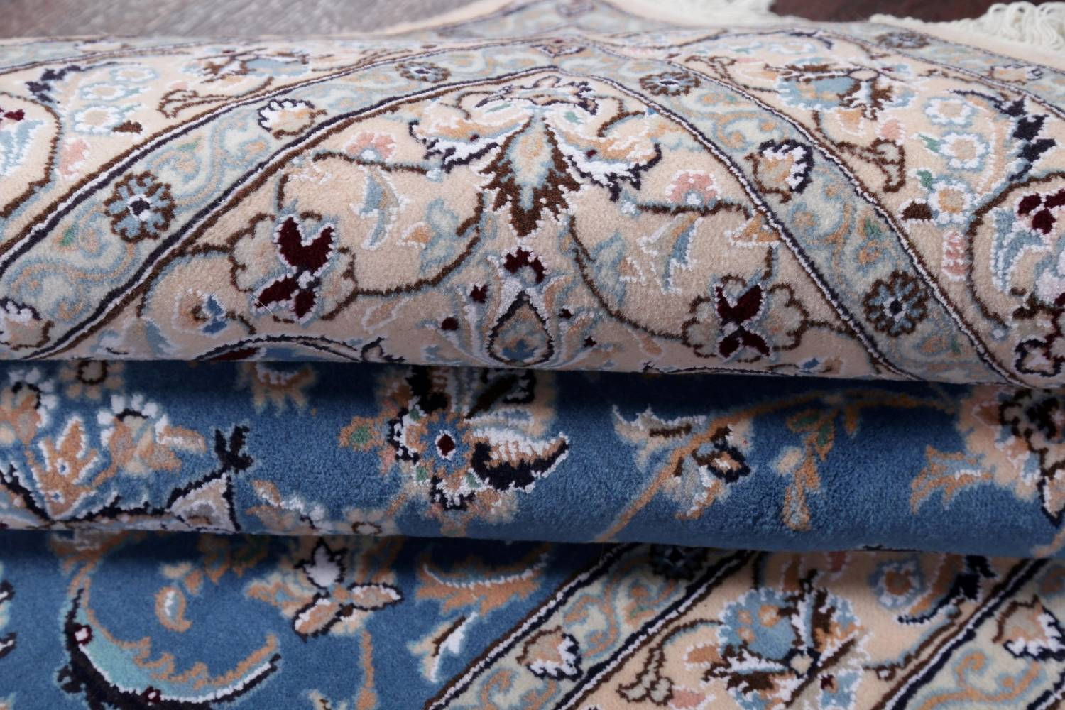 Floral Blue Nain Persian Hand-Knotted 4x7 Wool Silk Area Rug image 16