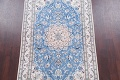 Floral Blue Nain Persian Hand-Knotted 4x7 Wool Silk Area Rug image 3