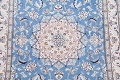 Floral Blue Nain Persian Hand-Knotted 4x7 Wool Silk Area Rug image 4