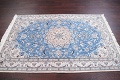 Floral Blue Nain Persian Hand-Knotted 4x7 Wool Silk Area Rug image 13