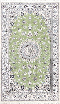 Floral Green Nain Persian Hand-Knotted 4x7 Wool Silk Area Rug
