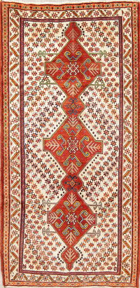 Geometric Gabbeh Persian Hand-Knotted 4x8 Wool Runner Rug